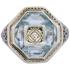 Edwardian Aquamarine Diamond 14 Karat White Gold Dinner Ring