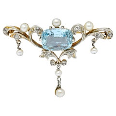 Edwardian Aquamarine Diamond Pearl Platinum-Topped 14 Karat Gold Brooch