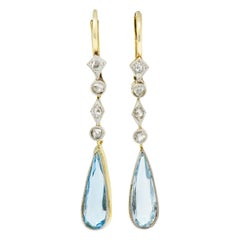 Edwardian Aquamarine Diamond Platinum-Topped Gold Drop Earrings