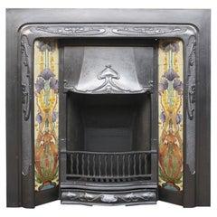 Edwardian Art Nouveau Cast Iron Fireplace Insert with Tiles