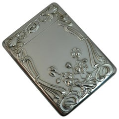 Edwardian Art Nouveau Sterling Silver Card Case