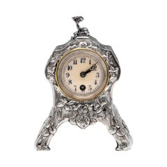Edwardian Art Nouveau Sterling Silver Clock by William Comyns in 1903