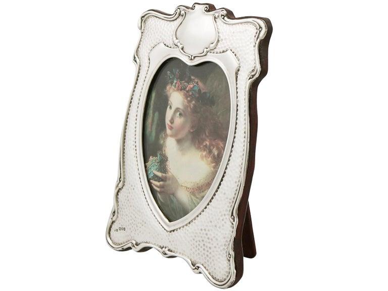 English Edwardian Art Nouveau Style Sterling Silver Photograph Frame For Sale