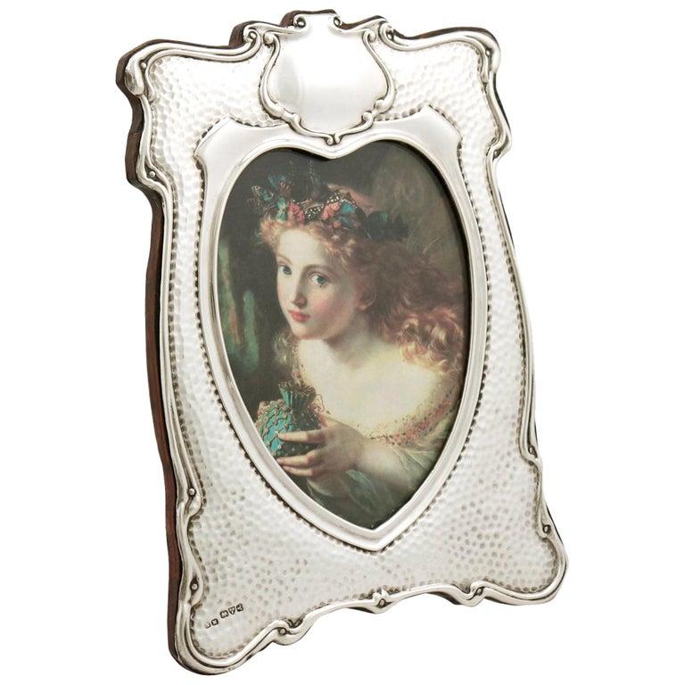 Edwardian Art Nouveau Style Sterling Silver Photograph Frame For Sale