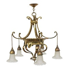 Edwardian Arts & Crafts Brass Five Branch Electrolier Ceiling Light