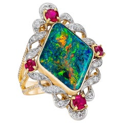 Edwardian Australian Opal Diamond Ruby 18 Karat Custom Ring