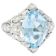 Edwardian Bailey Banks and Biddle Aquamarine Diamond Platinum Navette Ring