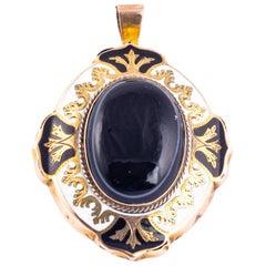 Edwardian Banded Agate, 9 Carat Gold and Enamel Locket Back Pendant