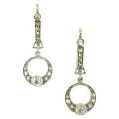 Edwardian Belle Époque Diamond Yellow Gold Platinum Dangle Dormeuses Earrings