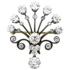 Edwardian Belle Époque Peacock Old Cut Diamonds Brooch