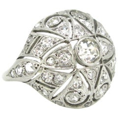 Edwardian Belle Époque Platinum Diamonds Bombe Dome Fashion Wedding Ring