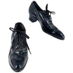 Edwardian Black Leather Women's Work Shoes