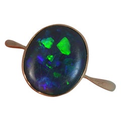 Edwardian Black Opal Solitaire 9 Carat Rose Gold Ring
