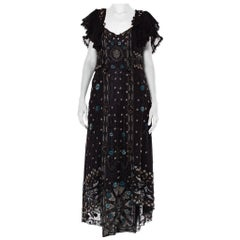 Edwardian Black Silk Net Floral Embroidered & Beaded  Gown With Ruffle Lace Col