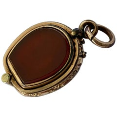 Edwardian Bloodstone and Carnelian 9 Carat Gold Locket Fob