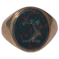 Edwardian Bloodstone and Gold Engraved Signet Ring