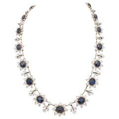 Edwardian Blue Sapphire Diamond Necklace