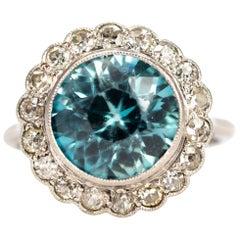 Edwardian Blue Zircon and Diamond Platinum Cluster Ring