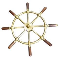 Edwardian Brass and Mahogany Ships Wheel