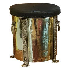 Edwardian Brass Coal Box Stool