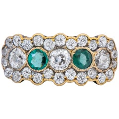 Edwardian Bridger 1.60 Carat Diamond Emerald 18 Karat Gold Cluster Ring