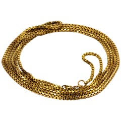 Edwardian Bright Yellow Gold Long Guard Chain