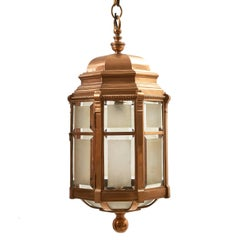 Edwardian Bronze and Frosted Glass Hexagonal Hall Lantern, circa 1910