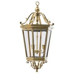 Edwardian Bronze Hexagonal Tapered Lantern with Chain, circa 1910