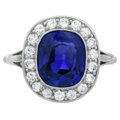 Edwardian Burma No Heat Blue Sapphire and Diamond Platinum Engagement Ring