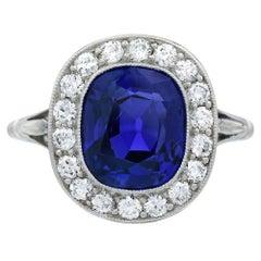 Edwardian Burma No Heat Blue Sapphire and Diamond Platinum Engagement Ring