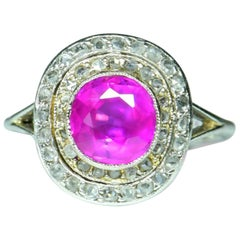 Edwardian Burma No Heat Pink Sapphire and Diamond Platinum Engagement Ring