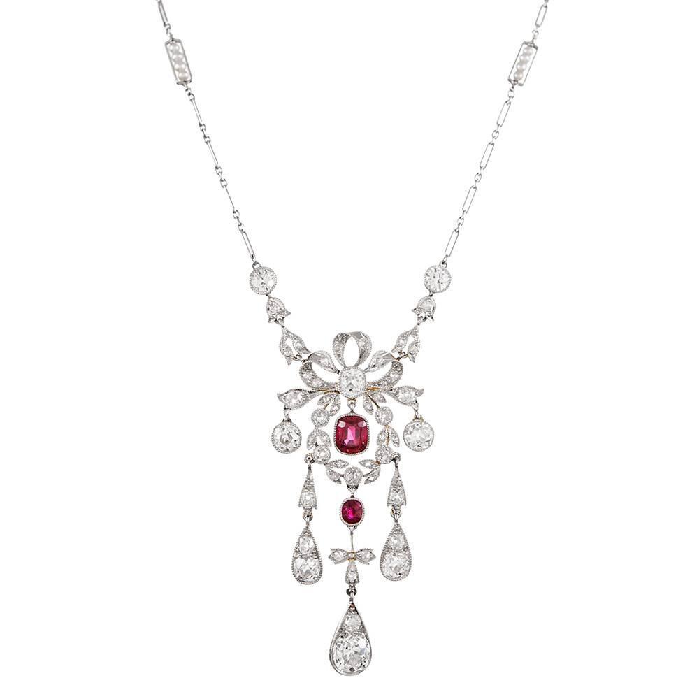 Edwardian Burma No Heat Ruby and Diamond Necklace