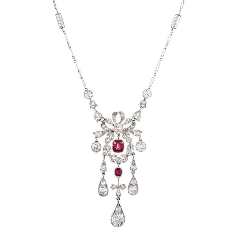 Edwardian Burma No Heat Ruby and Diamond Necklace