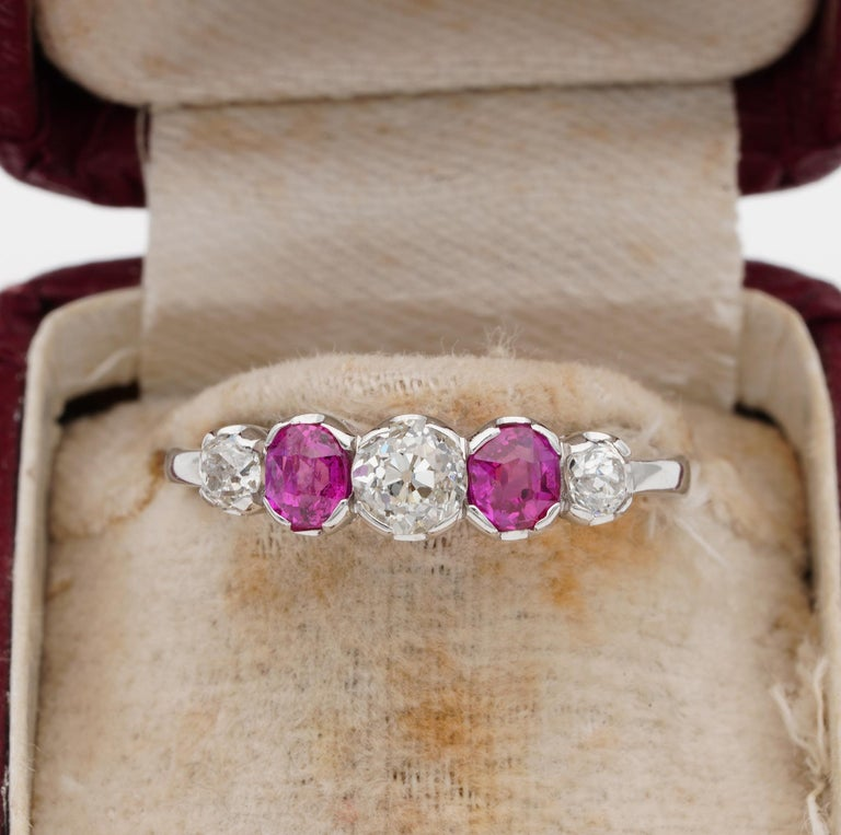 Everlasting Beauty!  A simply stunning Edwardian era five stone ring A bright and vivacious display of natural gemstones starring on this classy and eternal antique hoop ring very finely hand crafted of solid Platinum not marked during the very
