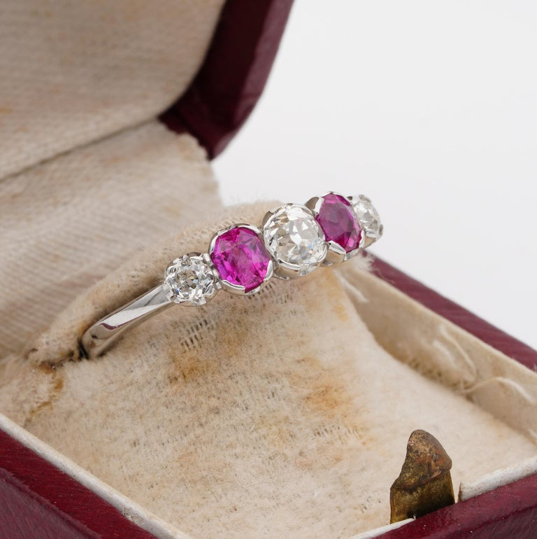 Women's or Men's Edwardian Burma Ruby and Diamond Five-Stone Platinum Ring For Sale