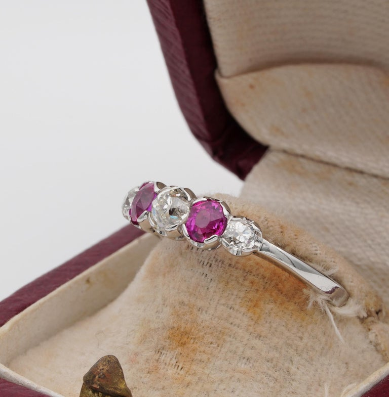 Edwardian Burma Ruby and Diamond Five-Stone Platinum Ring For Sale 2