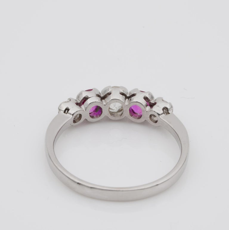 Edwardian Burma Ruby and Diamond Five-Stone Platinum Ring For Sale 4