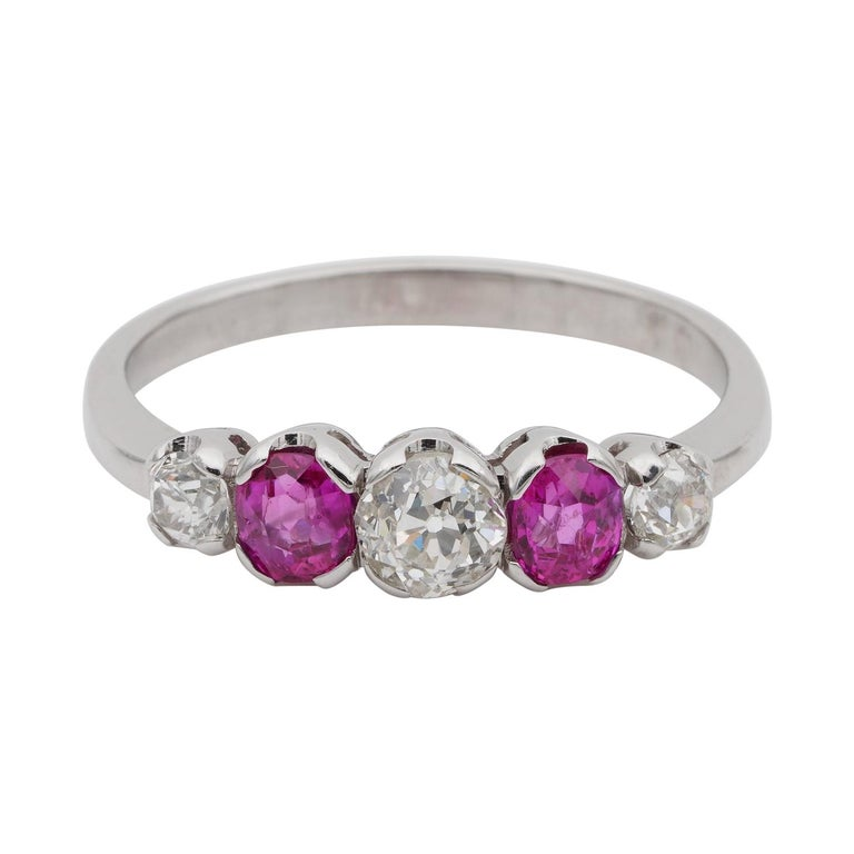 Edwardian Burma Ruby and Diamond Five-Stone Platinum Ring For Sale