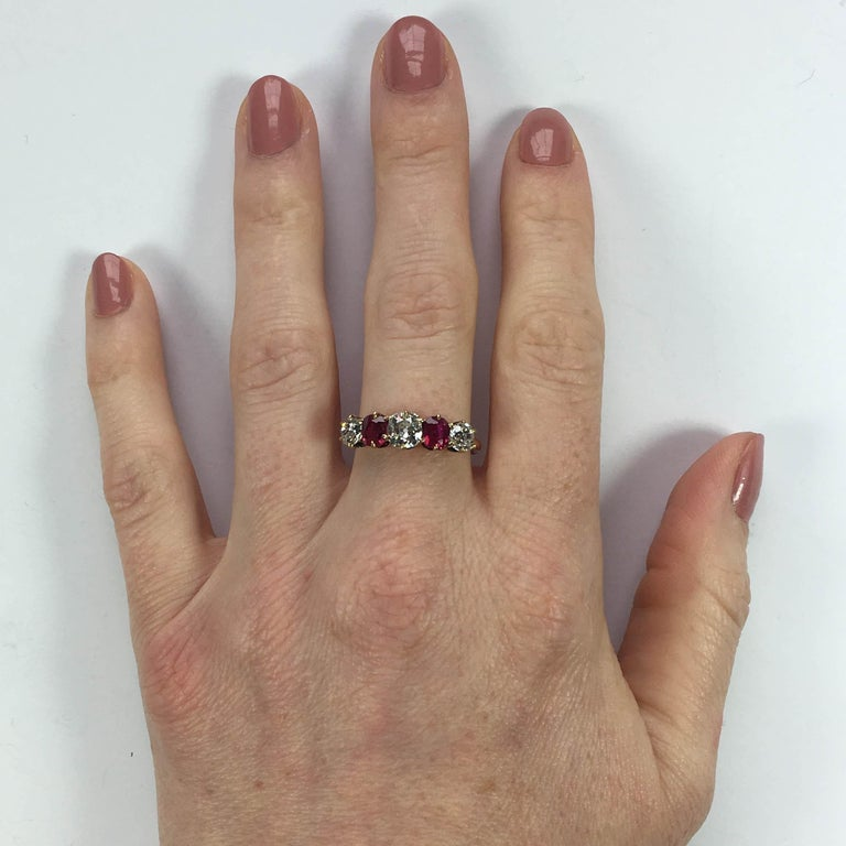 Edwardian Burmese Red Ruby White Diamond Five-Stone Engagement Ring For Sale 1