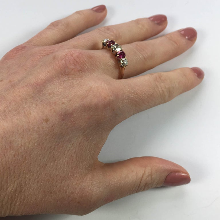 Edwardian Burmese Red Ruby White Diamond Five-Stone Engagement Ring For Sale 2