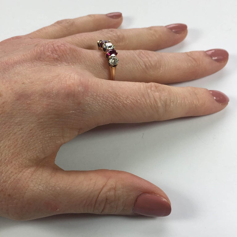 Edwardian Burmese Red Ruby White Diamond Five-Stone Engagement Ring For Sale 3