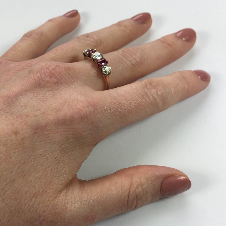 Edwardian Burmese Red Ruby White Diamond Five-Stone Engagement Ring For Sale 4