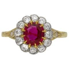 Edwardian Burmese Ruby and Diamond Coronet Cluster Ring, circa 1910