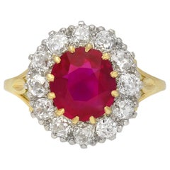 Edwardian Burmese Ruby and Diamond Coronet Cluster Ring, English, circa 1910