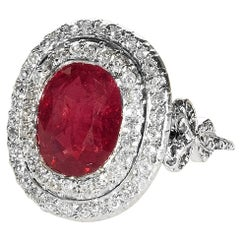 Edwardian Burmese Ruby Diamond Platinum Ring