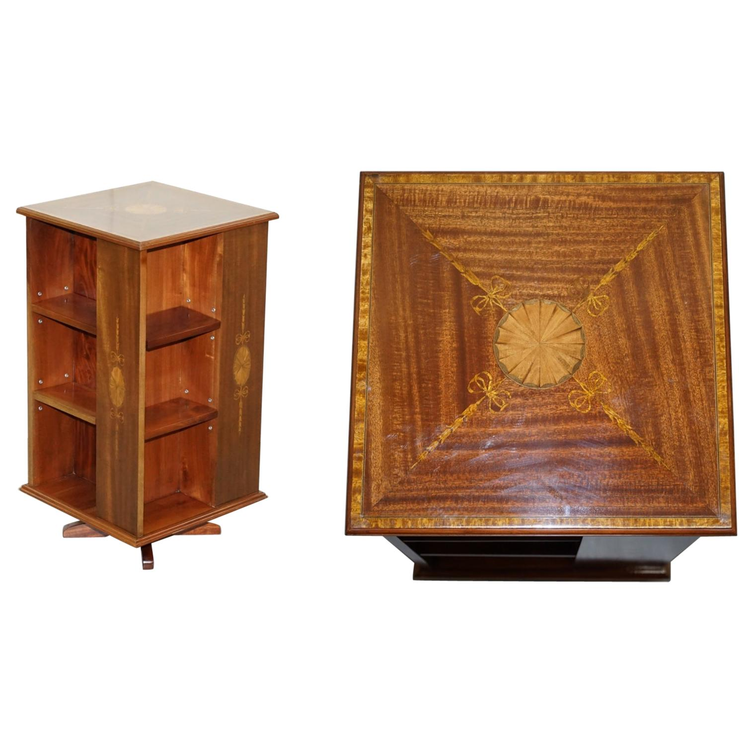 Edwardian Burr Walnut & Mahogany Revolving Bookcases Sheraton Inlaid, circa 1900