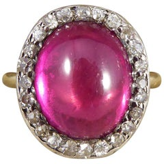 Edwardian Cabochon Crown Synthetic Ruby and Diamond Cluster Ring in 18 Carat