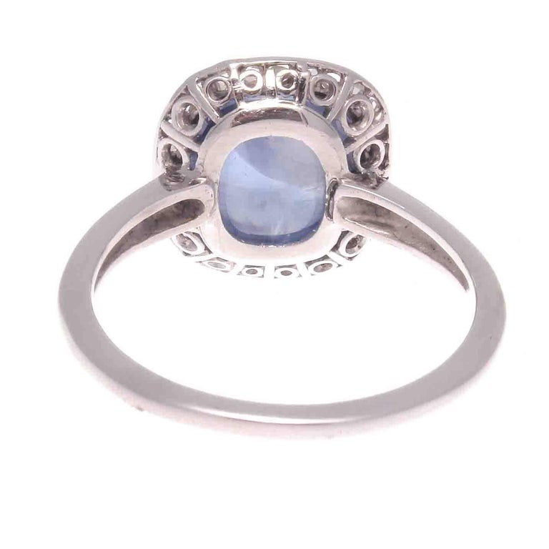 Edwardian Cabochon Sapphire Diamond Platinum Engagement Ring In Excellent Condition In Beverly Hills, CA