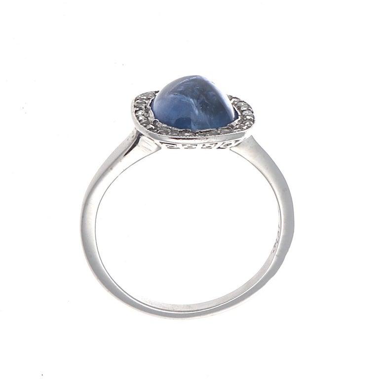 Women's Edwardian Cabochon Sapphire Diamond Platinum Engagement Ring