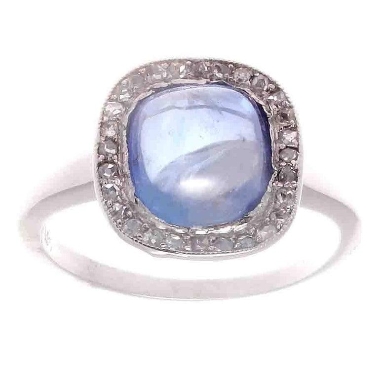 Edwardian Cabochon Sapphire Diamond Platinum Engagement Ring